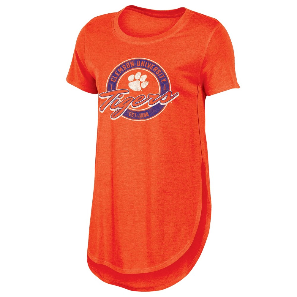 Clemson Tigers Women's Heathered Crew Neck Tunic T-Shirt - M, Multicolored