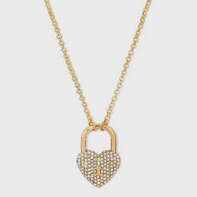 SUGARFIX by BaubleBar Crystal Heart Locket Pendant Necklace - Gold