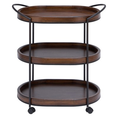 Wood 3 Tier Oval Tray Cart Brown - Olivia & May