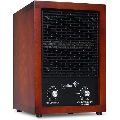 Ivation 5-in-1 Air Purifier & Ozone Generator for up to 3,700 Sq/Ft - Included HEPA, Carbon & Photocatalytic Filters with UV Light - Cherry Wood