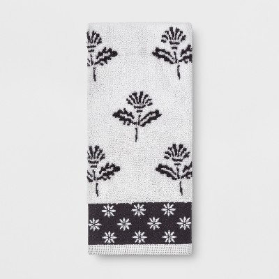 Sculpted Floral Hand Towel Black/White - Threshold™