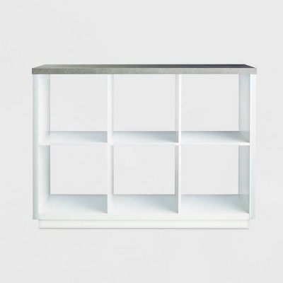 6 Cube Storage Organizer with Faux Concrete Surface Top White - Threshold™