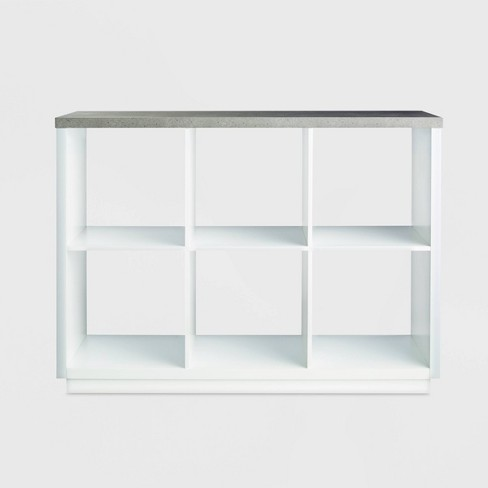 6 Cube Storage Organizer with Faux Concrete Surface Top White - Threshold™ - image 1 of 3