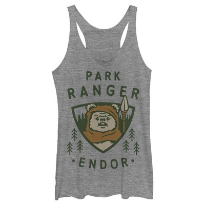 Women's Star Wars Park Ranger Endor Ewok Badge Racerback Tank Top