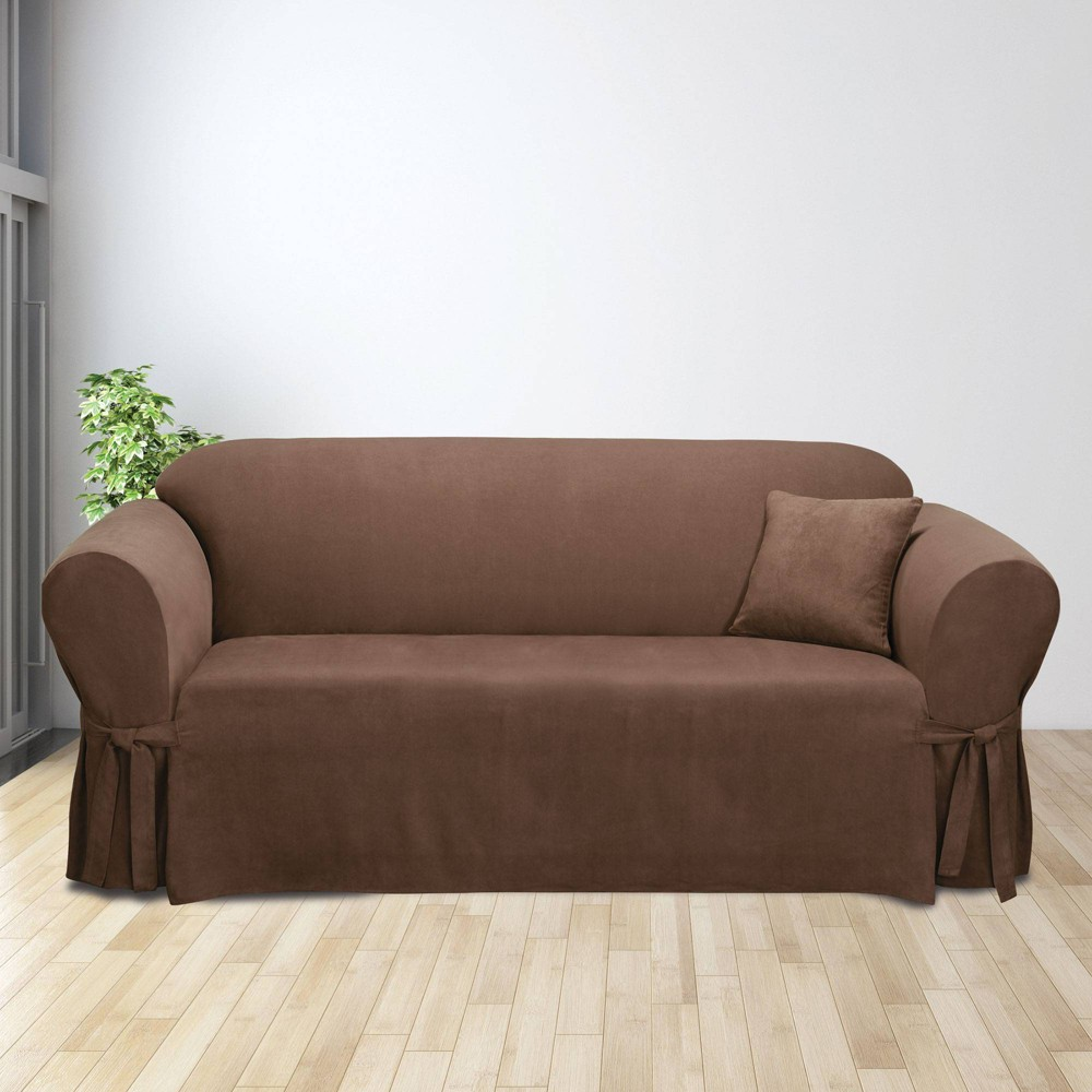 Soft Suede Sofa Slipcover Chocolate Sure Fit