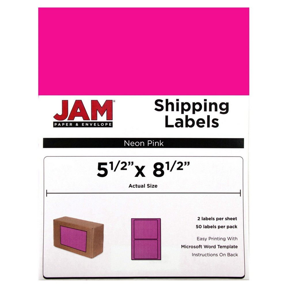 "Image of ""JAM Paper Shipping Labels 5.5"""" X 8.5"""" 50ct - Neon Pink"""