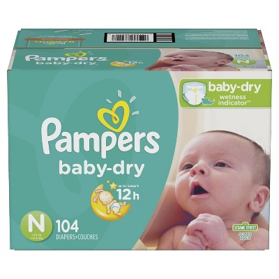 Pampers Baby Dry Diapers Super Pack Size Newborn - 104ct