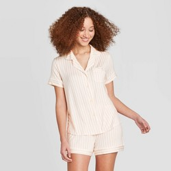 Women's Striped Beautifully Soft Short Sleeve Notch Collar and Short Pajama Set - Stars Above™ Soft Pink