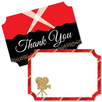 Big Dot of Happiness Red Carpet Hollywood - Shaped Thank You Cards - Movie Night Party Thank You Note Cards with Envelopes - Set of 12