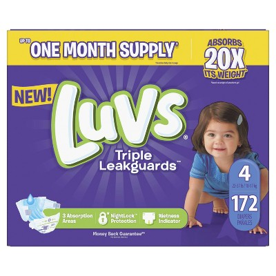 Luvs Disposable Diapers Ginormous Pack - Size 4 (172ct)