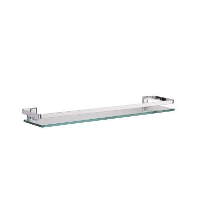 Wall Glass Shelf with Rail Chrome - Bath Bliss