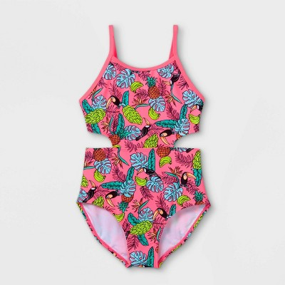 Girls' Tropical Print Cut-Out One Piece Swimsuit - Cat & Jack™ Pink