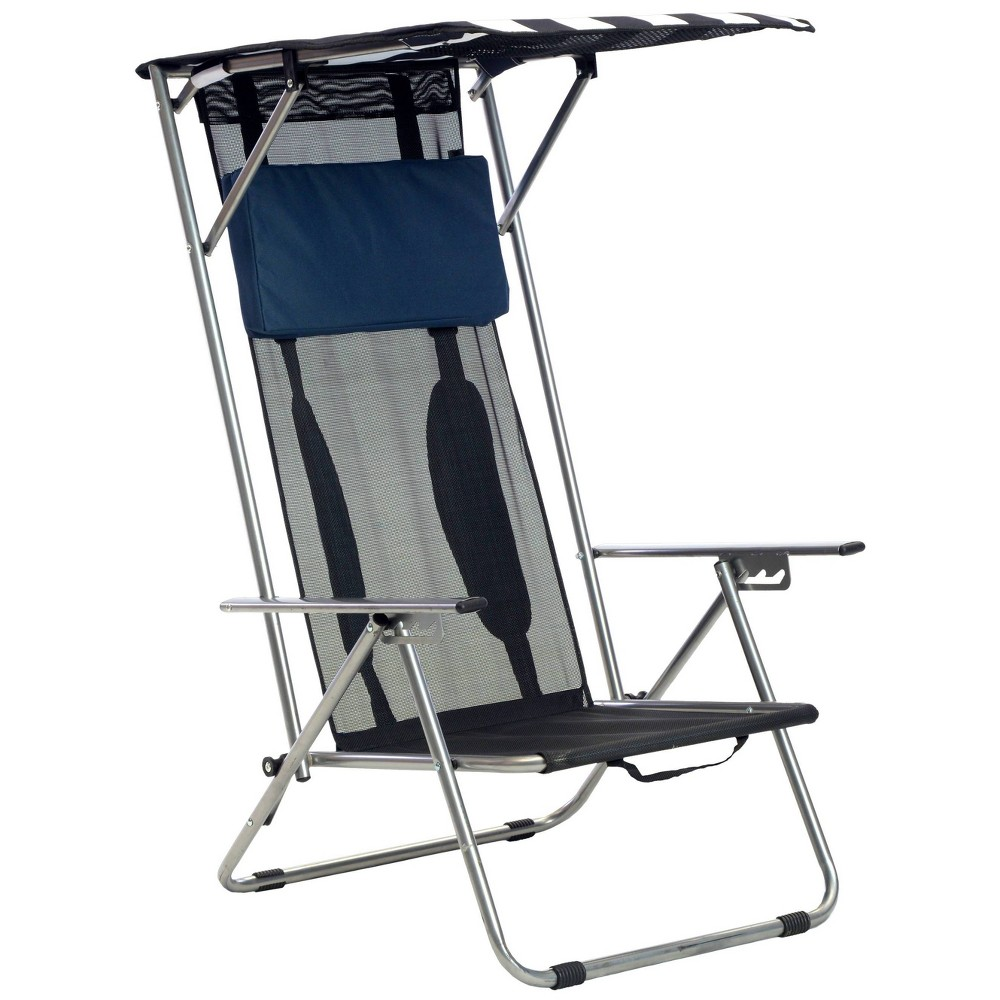 Quik Shade Beach Chair with Carrying Case - Navy Blue Striped