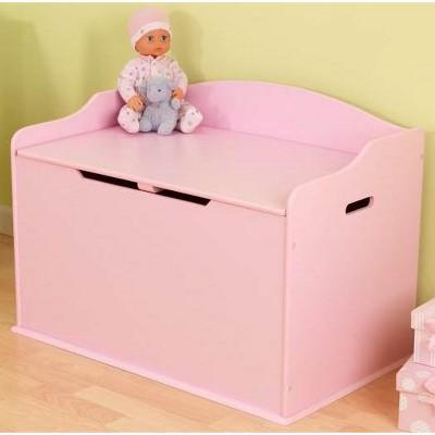 KidKraft Austin Pink Wood Toy Box Chest & Bench
