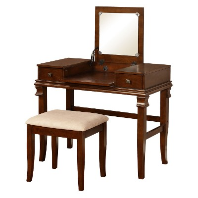 Home Angela Vanity Set Walnut - Linon