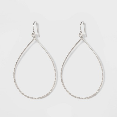 Sterling Silver Hammered Teardrop Drop Earrings - Universal Thread™ Silver