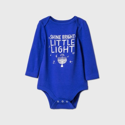 Baby Hanukah 'Shine Bright Little Light' Long Sleeve Bodysuit - Cat & Jack™ Blue 6-9M