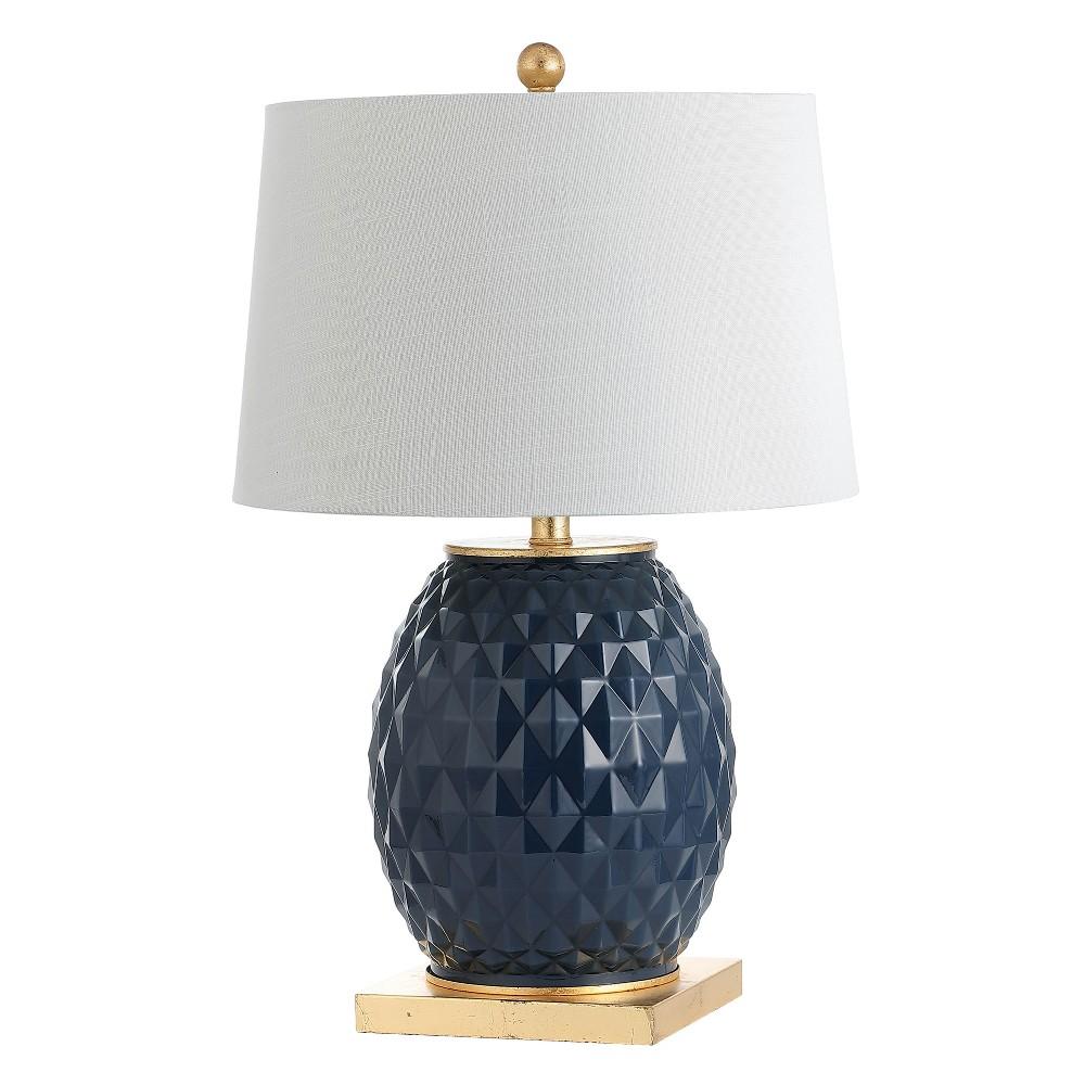 25.5 Diamond Led Glass/Metal Table Lamp Navy (Blue) - Jonathan Y