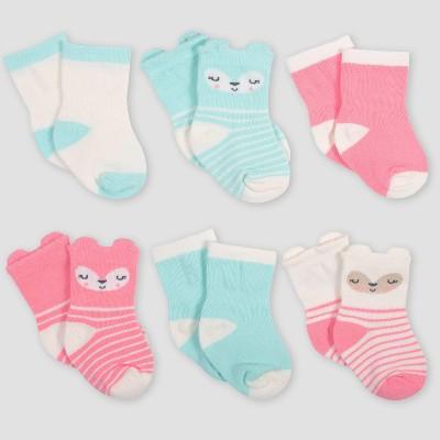 Gerber Baby Girls' 6pk Fox Wiggle Proof Crew Socks - Coral/Green/Light Brown 0-6M