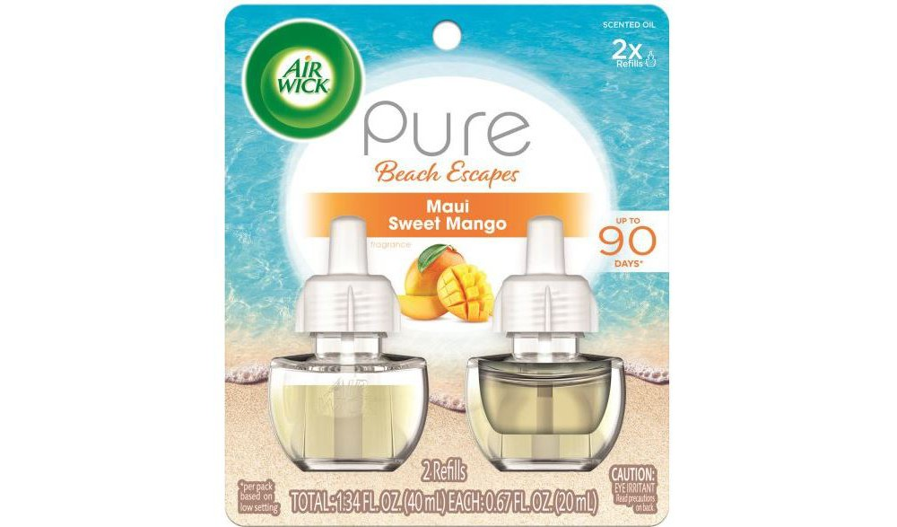 Image of Air Wick Pure Beach Escapes Maui Sweet Mango Scented Oil Twin Refill - 2ct/0.67oz, White