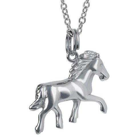 "Women's Journee Collection Dainty Prancing Horse Pendant Necklace in Sterling Silver - Silver (18"") - image 1 of 2"