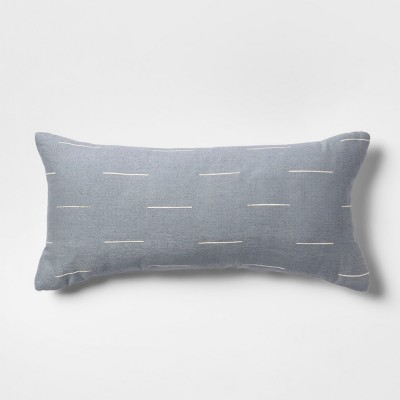 Silk Blend Dash Oversize Lumbar Throw Pillow Blue - Project 62™