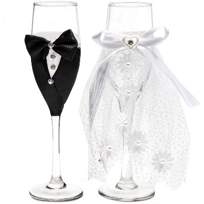 Sparkle and Bash Set of 2 Mr. & Mrs. Wedding Toasting Glasses, Bride and Groom Champagne Flutes in Lace Dress Tuxedo