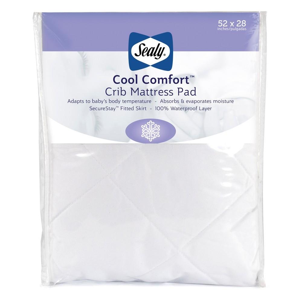 Image of Sealy Cool Comfort Waterproof Crib & Toddler Mattress Pad, White