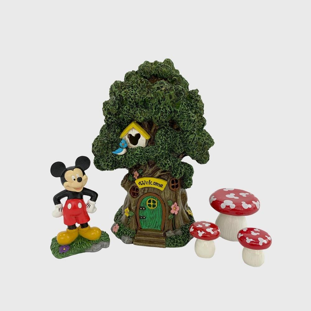 Disney Mickey Mouse 8 Miniature Resin Garden Set With Solar Tree House