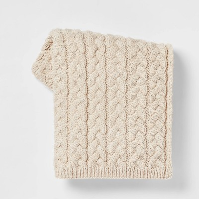Solid Chunky Cable Knit Throw Blanket Neutral - Threshold™