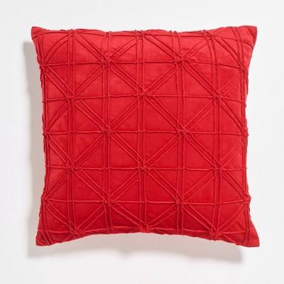 "20""x20"" Pleated Geometric Velvet Reversible Throw Pillow - Sure Fit"