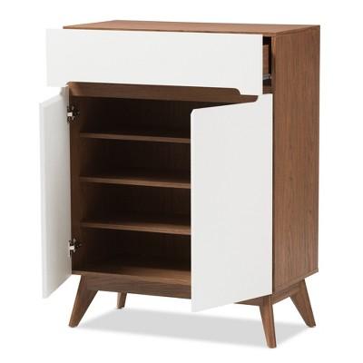 Genial Calypso Mid   Century Modern Wood Storage Shoe Cabinet   Brown   Baxton  Studio : Target