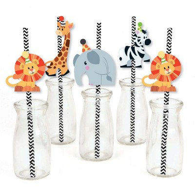 Big Dot of Happiness Jungle Party Animals - Paper Straw Decor - Safari Zoo Animal Birthday Party or Baby Shower Striped Decorative Straws - Set of 24