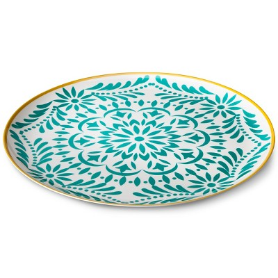 Marika Floral 14  Melamine Round Serving Platter - Blue/Gold