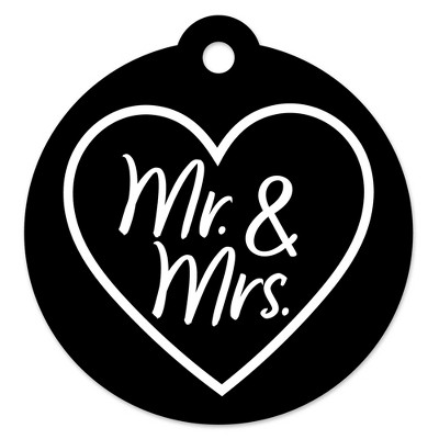 Big Dot of Happiness Mr. and Mrs. - Black and White Wedding or Bridal Shower Favor Gift Tags (Set of 20)
