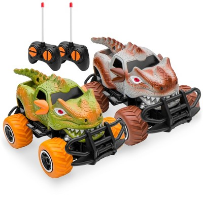 Best Choice Products Set of 2 1/43 Scale 27MHz Toy Dinosaur RC Cars w/ 2 Controllers, 9mph Max Speed