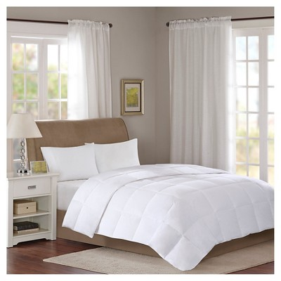 Cotton Sateen Down Comforter Level 1 300 Thread Count 3M Scotchgard (Full/Queen)White