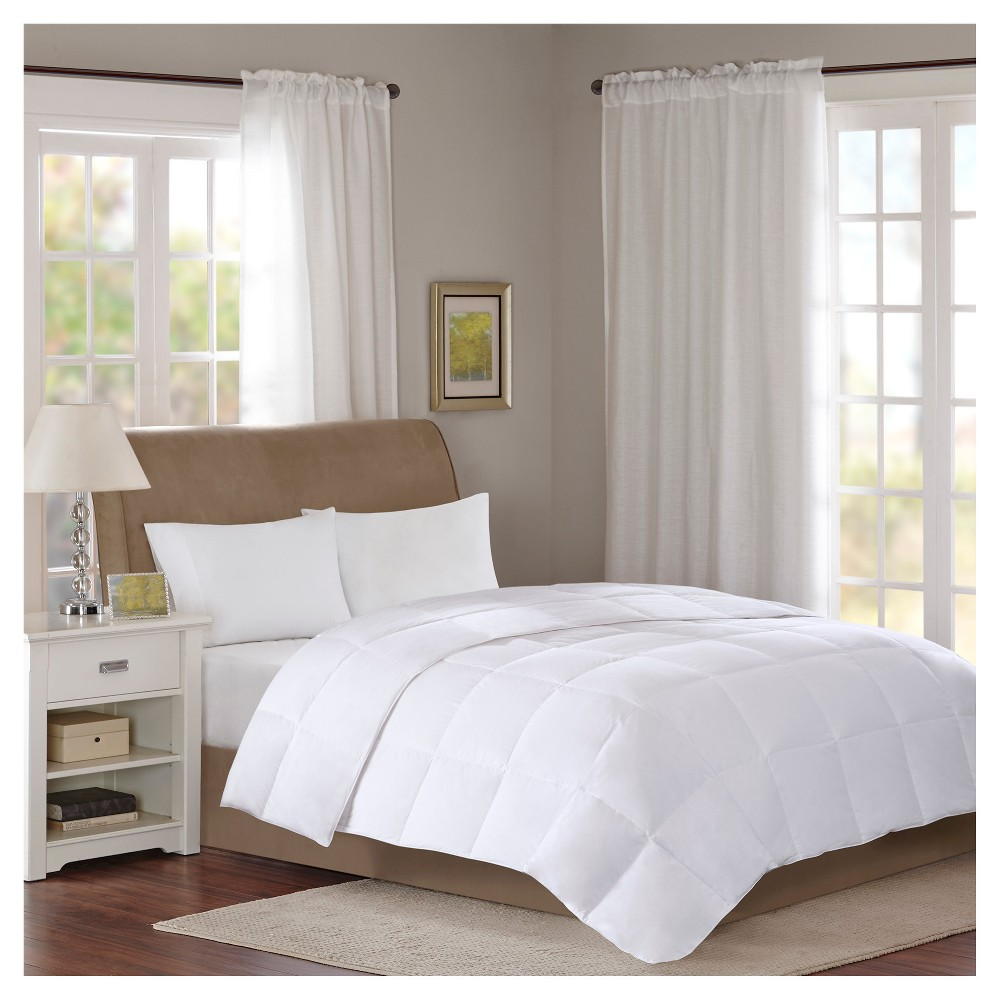 Image of Cotton Sateen Down Comforter Level 1 300 Thread Count 3M Scotchgard (Full/Queen) White