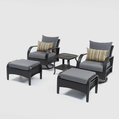 Barcelo 5pc Motion Club All-Weather Wicker Patio Seating Set - RST Brands