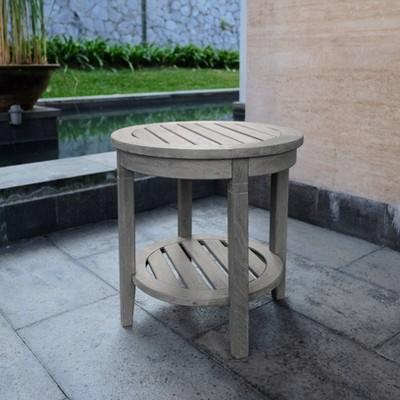 Sherwood Teak Patio Side Table - Weathered Gray - Cambridge Casual