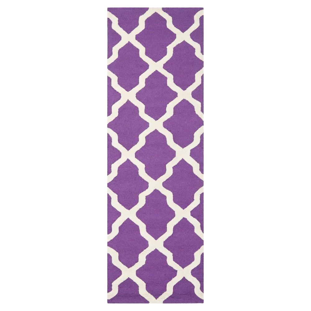 2 6 X10 Geometric Runner Purple Ivory Safavieh