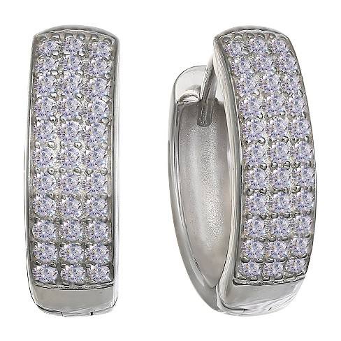 "Women's Huggie Hoop Earrings with 3 Rows of Round Clear Cubic Zirconias - Clear (0.6"") - image 1 of 1"