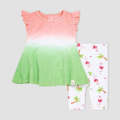 Burt's Bees Baby® Baby Girls' Flamingo Dip-Dye Tunic and Leggings Set - Pink
