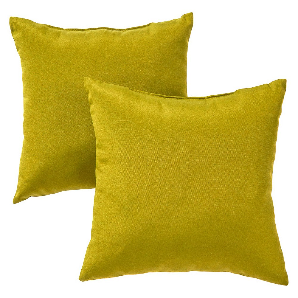Image of Greendale Home Fashions Set of 2 Square Outdoor Accent Pillows - Kiwi (Green)