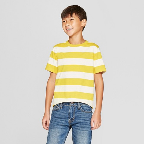 Boys' Short Sleeve Stripe T-Shirt - Cat & Jack™ Yellow - image 1 of 3
