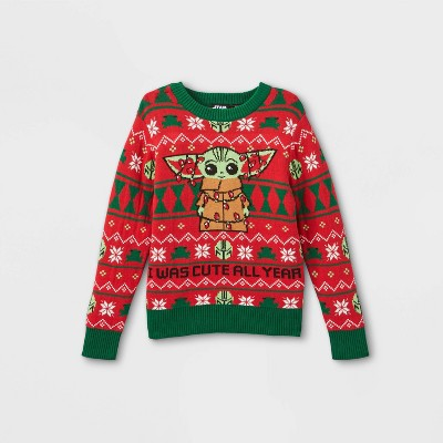 Toddler Boys' Star Wars Baby Yoda Ugly Christmas Sweater - Red