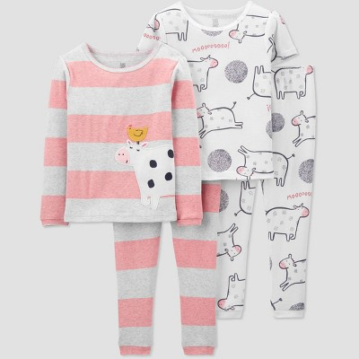 Toddler Girls' 4pc Cow Pajama Set - Just One You® made by carter's White/Gray/Pink