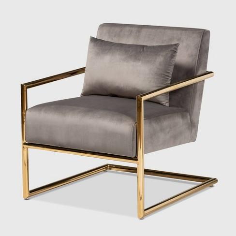 Mira Velvet Upholstered Metal Lounge Chair - Baxton Studio - image 1 of 4