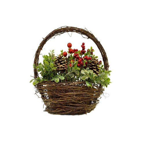 """Northlight 12"""" Pine Cones Berries and Boxwood in Twig Basket Christmas Tabletop Decoration - image 1 of 3"""
