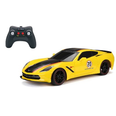 New Bright R/C Showcase Sportscar Racing Corvette C7 Yellow 9 .6v 1:8 Scale